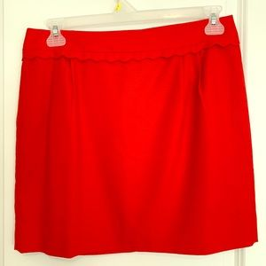 J. Crew scalloped red wool mini skirt size 10